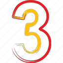 math, number, third, three icon