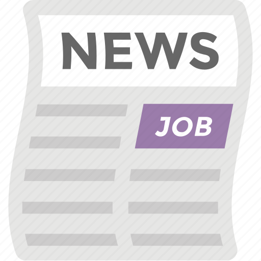 job opportunities, news feed, newspaper, newsprint, print media icon
