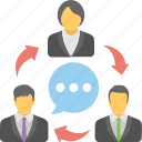 business counseling, collaboration, colleagues, communication, office meeting icon