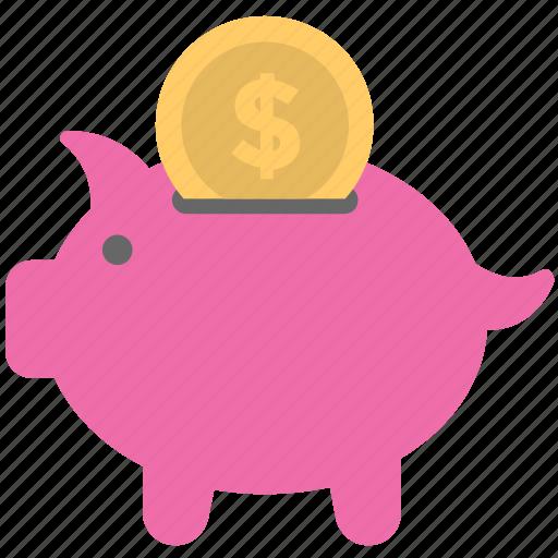 cash, dollar, money, piggy bank, savings icon
