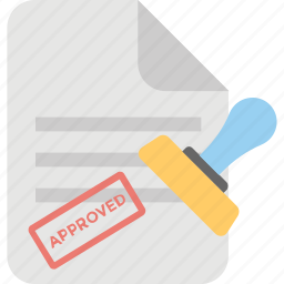 approved document, contract, legal agreement, stamped document, work permit icon