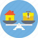 balance scale, budget balance, home financing, home loan symbol, mortgage concept icon