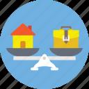 balance scale, budget balance, home financing, home loan symbol, mortgage concept