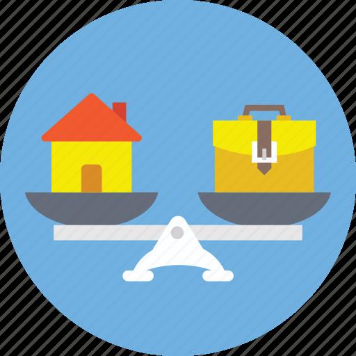 balance scale, budget balance, home financing, home loan symbol, mortgage concept icon