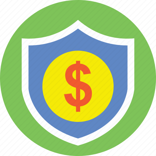 business insurance, business protection, dollar shield, financial security, money protection icon