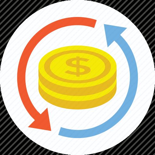 commerce, currency exchange, dollar exchange, money circulation, money exchange icon