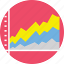 area chart, area graph display, data visualization, presentation, stacked area chart icon
