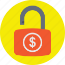 dollar padlock, financial protection, financial security, safe banking, secure money icon