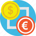 commerce, currency converter, currency exchange, money converter, money exchange icon