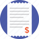 bank statement, bill, cash receipt, invoice, shopping receipt icon