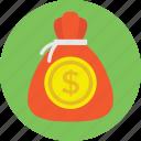 investment, money back, money pouch, money sack, saving, wealth icon