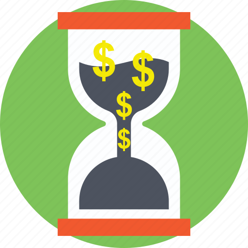 clock with dollars, financial importance, time importance, time is money, time is valuable icon