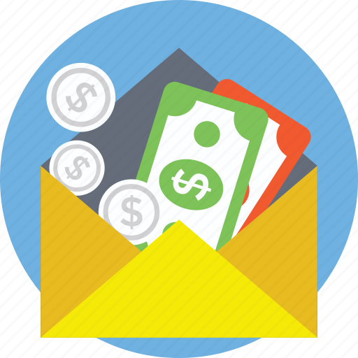 cash in envelope, income, money transfer, payment, wages icon