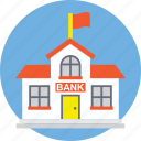 bank, bank architecture, bank building, bank exterior, bank office, bank with flag icon