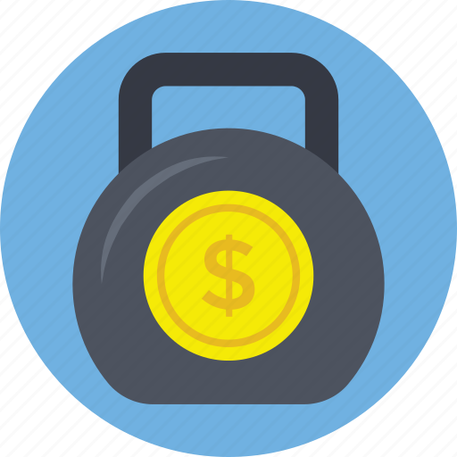 debt concept, financial kettlebell, financial mass, financial weight with dollar, kettlebell currency icon