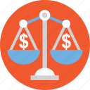 dollar scale, financial weighing concept, money scale, money weighing, value of money icon