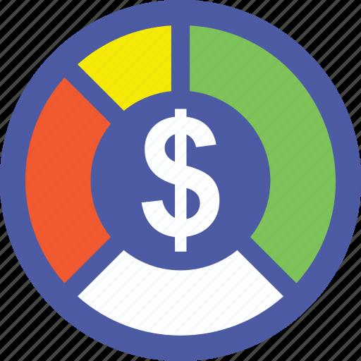business presentation, business statistics, dollar inside pie chart, dollar pie chart, financial statistics icon