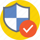 guarantee, protection shield, secured symbol, shield, shield with checkmark icon