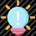 bright, bulb, exclamation mark, idea, light bulb