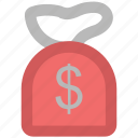 cash, cash bag, dollar, dollar sack, money, money sack, payment, sack of money icon