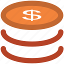 coins, dollar coins, dollars, money icon