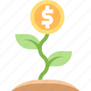 plant, grow, finance, money, growth icon