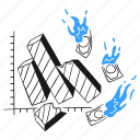business, graph, collapsing, bankrupt, broke, lose, money icon