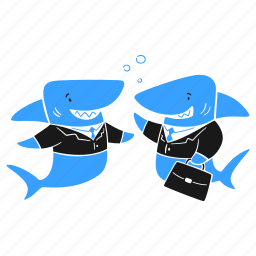 business, sharks, big, fish, company, businessman, suit