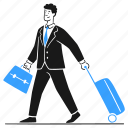 business, trip, work, travel, suitcase, businessman, luggage icon
