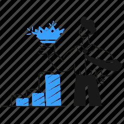 successful, business, businessman, growth, increase, achievement, crown