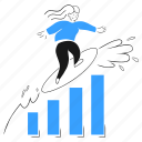 successful, business, businesswoman, growth, graph, wealth, money icon