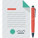 agreement, business, contract, deal, pen, signature icon