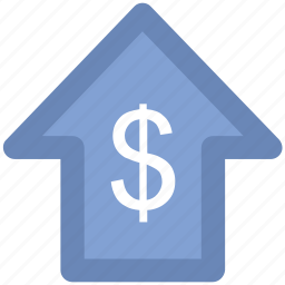 commerce, currency, currency value, dollar, finance, pointing up, saving icon