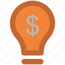 bulb, business idea, creativity, dollar power, dollar sign, electric bulb icon