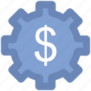accounting, business gear, cogwheel, currency gear wheel, dollar gear icon