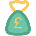 british pound, cash, cash bag, money sack, pound currency, pound sack icon