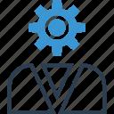 businessman, gear, man, person, profile, user icon