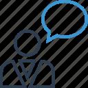 bubble, chat, conversation, man, person, talk icon