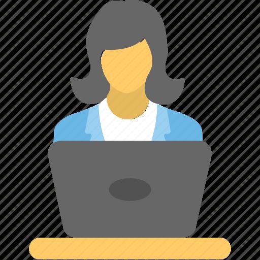 computer user, freelancer, internet user, office work, online employee icon