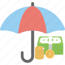 investment, insurance concept, personal savings, money protection, deposit scheme icon