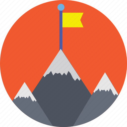 ice peaks, mission achievement, mountain flag, successful mission, victory icon