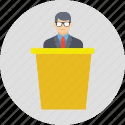 conference, political leader, public speaker, seminar, speech icon