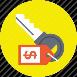dollar sign key, key dollar, key price tag, key with price tag, keychain dollar icon