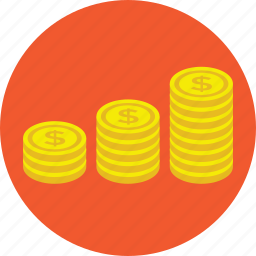 coins, coins graph, coins stack, pile of coins, savings icon