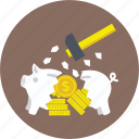 broken piggy bank, financial crisis, hammer breaking piggy, piggy bank hammer, smashed piggy bank icon