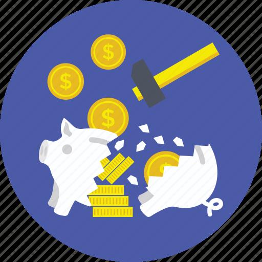 broken piggy bank, financial crisis, hammer breaking piggy, piggy bank hammer, smashed piggy bank icon