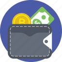 billfold, pocketbook, purse, wallet, wallet money icon