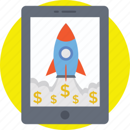 business launch, new business, online business, rocket launch icon
