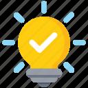 accept, bulb, idea, light, light bulb icon