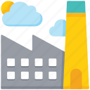 building, cloudy, factory, industry icon